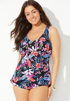 Sarong Swimsuit with Wide Straps, BLACK PINK FLORAL