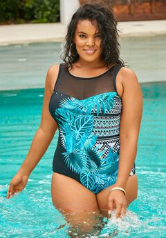 Mesh-Yoke One-Piece with Sheer Panels, PALM TRIBAL PRINT