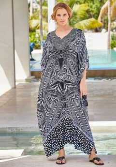 Long Embellished Cover Up, BLACK WHITE TRIBAL