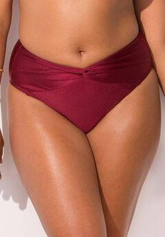 Ashley Graham Taza Bikini Bottom, WINE