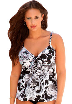 Tie-Front Tankini by Shore Club®, MOONSTRUCK PAISLEY