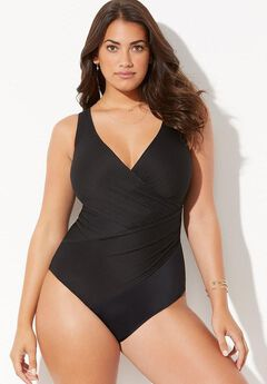 Ribbed Surplice One Piece Swimsuit ,