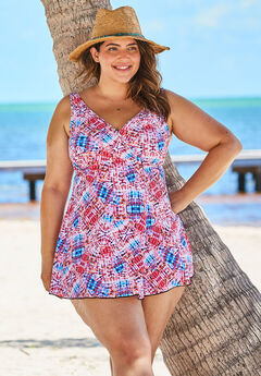 Surplice Swim Dress, BLUE PINK TRIBAL