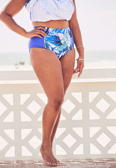 High-Waisted Swim Brief, BLUE WATERCOLOR PALM PRINT