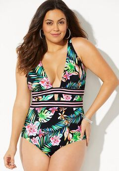 Polynesia Plunge One Piece Swimsuit,