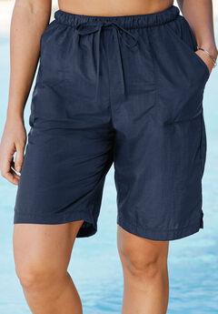 Taslon® Swim Board Shorts with Built-In Brief, NAVY