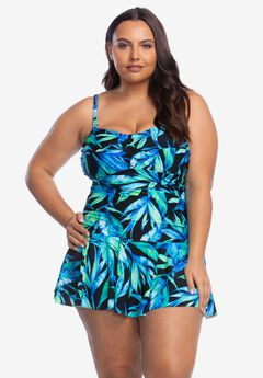 Ruched Bandeau Swimdress by Chaps,