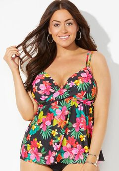 Loop Strap Underwire Tankini Top, TROPICAL