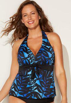 Tankini Halter Swim Top, BLUE BLACK OMBRE