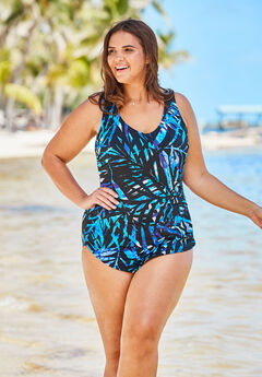 9b59e2ad8dbe9 Sarong-Front One-Piece Swimsuit by Beach Belle. Woman Within