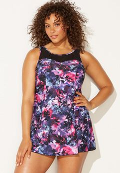 Mesh-Trim Swim Dress, MULTI FLOWER