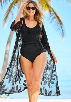 Open-Front Embroidered Cover Up, BLACK