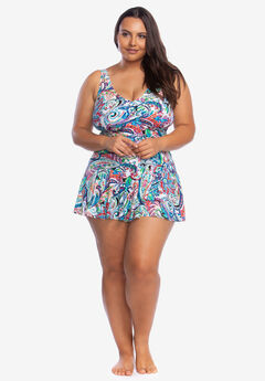Surplice Skirted One-Piece by Chaps, BEACHCOMBER PAISLEY