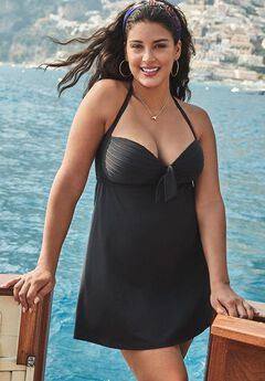 Bow Halter Swimdress, BLACK