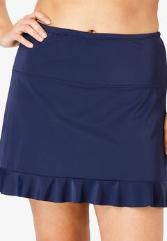 Ruffle-Trim Swim Skirt with Built-In Brief,