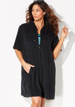 Alana Black Terry Cloth Zip Hoodie Cover Up,