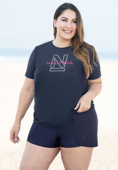 Shirred Swim Tee by Nautica, NAVY LOGO