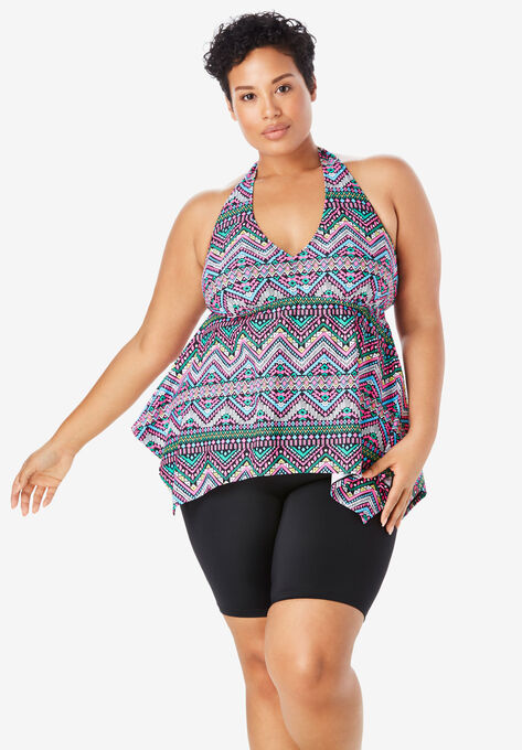 4fe21d57e53af Flared Tankini Top with Bust Support