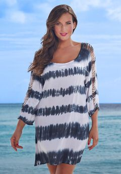 c4f4ee1cc4 Callie Striped Long Ripped Sleeve Tunic Cover Up