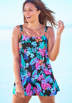 Princess-Seam Swim Dress,