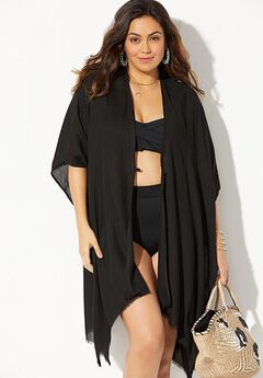 Open Front Kimono Beach Cover Up, BLACK