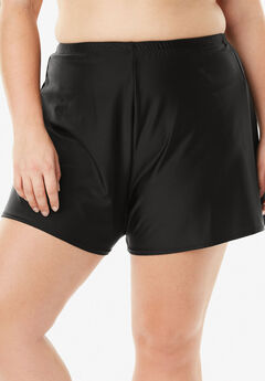 Loose Swim Short with Built-In Brief, BLACK