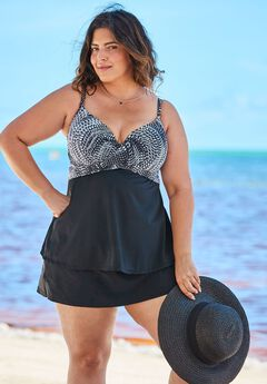 Cross-Front Tankini Top, BLACK WHITE ABSTRACT
