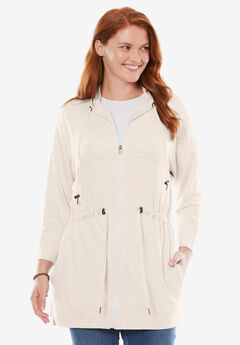 French Terry Swing Jacket, HEATHER OATMEAL