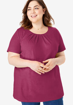 Pleat Neck Tee,
