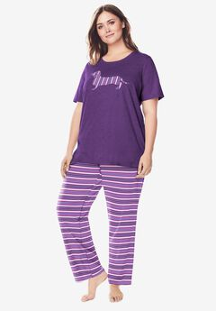 Graphic Tee PJ Set by Dreams & Co®, LIGHT ORCHID STRIPE