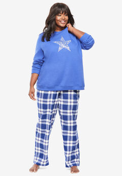 Fleece Sweatshirt Pajama Set by Dreams & Co.®, BLUE SAPPHIRE STAR