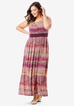 Banded Waist Print Maxi Dress, RASPBERRY OMBRE DOT