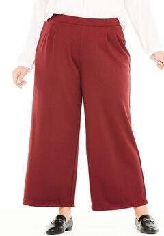 Ponte Wide Leg Cropped Pant,