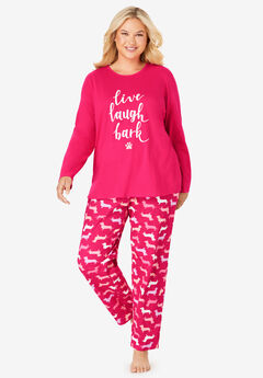 Long Sleeve Knit PJ Set by Dreams & Co.®, RADIANT PINK BARK