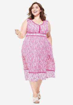 Mixed Print Midi Dress,