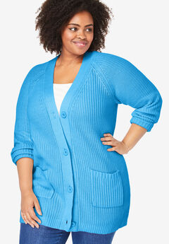 Button Front Shaker Cardigan, VIBRANT BLUE