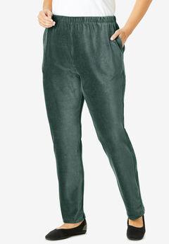 Ribbed Velour Straight Leg Pant,