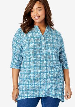 Buttoned Notch Neck Gauze Maxi Tunic,