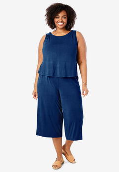 Popover Wide Leg Sleeveless Jumpsuit,