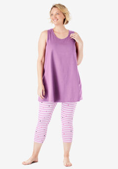 Scoopneck Tank & Capri Legging PJ Set by Dreams & Co.®,