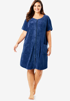 Dreams & Co.® Zip-Front Embossed Terry Robe, EVENING BLUE EMBOSSED