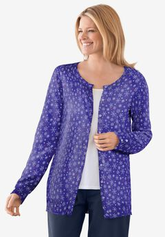 Perfect Long Sleeve Cardigan, ULTRA BLUE LOVELY SNOWFLAKES
