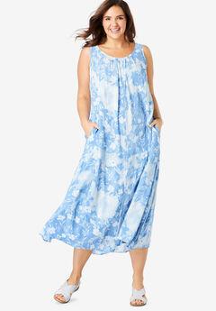A-Line Sleeveless Crinkle Dress,