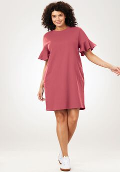 Ruffle Sleeve Fleece Dress,