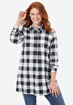 Plaid Knit Tunic With Collar,