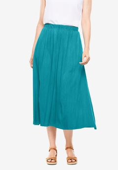 Elastic-Waist Knit Gauze Skirt,
