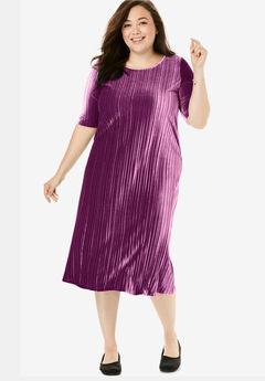 Short Pleated Crinkle Velour Dress,