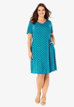 Short-Sleeve V-Neck Rayon Dress,