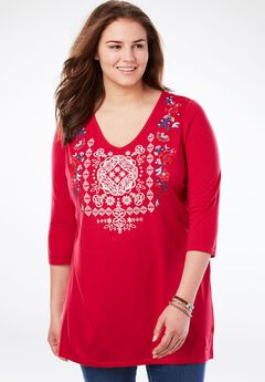 Floral Embroidered V-Neck Tunic,