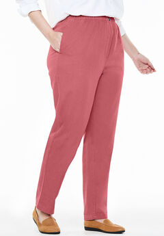 Elastic-Waist Cotton Straight Leg Pant, ROSE BLOOM